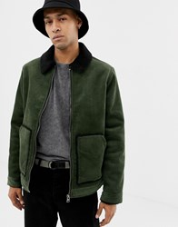Your Turn Yourturn Cord Jacket In Green With Borg Collar And Lining