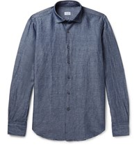 Incotex Slim Fit Linen And Cotton Blend Chambray Shirt Blue