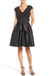 Adrianna Papell Women's Jersey And Taffeta Fit And Flare Dress Black