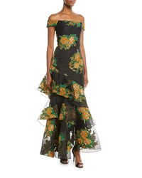 David Meister Asymmetric Tiered Floral Off The Shoulder Dress Black Gold