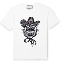 Gucci Slim Fit Printed Cotton Jersey T Shirt White