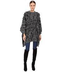 Mcq By Alexander Mcqueen All Over Fringe Poncho Black White