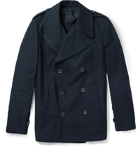 Alfred Dunhill Double Breasted Cotton Peacoat Blue