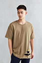 The Narrows Destroyed Center Seam Tee Olive