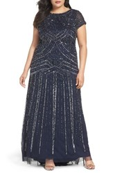 Adrianna Papell Plus Size Women's Beaded A Line Gown