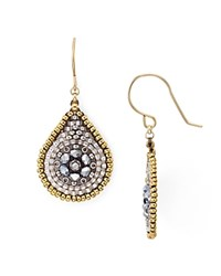 Miguel Ases Beaded Teardrop Earrings Silver