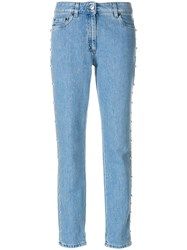Moschino Studded Straight Leg Jeans Blue