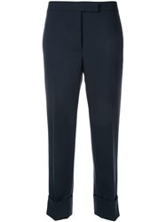 Thom Browne Cropped Straight Leg Trousers Blue