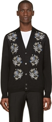 Alexander Mcqueen Black Embroidered Flower Cardigan