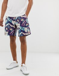 Replay Dark Hibiscus Flower Print Shorts With Sporty Stripes Navy
