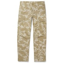 Carhartt Wip Camouflage Print Cotton Canvas Cargo Trousers Beige