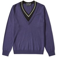 Fred Perry X Raf Simons Double Layer V Neck Knit Blue