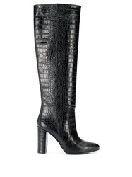 Via Roma 15 Embossed Tall Boots Black