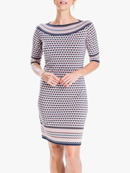 Max Studio Geometric Jersey Dress Navy Coral