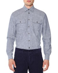Tomas Maier Double Pocket Felted Oxford Shirt Blue