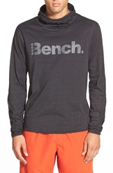 Bench 'Badge' Graphic Hooded Long Sleeve T Shirt Jet Black