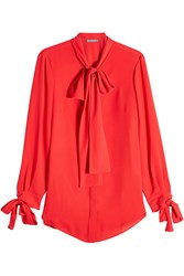 Alexander Mcqueen Silk Blouse With Bow Detail Red