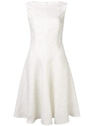 Talbot Runhof Jacquard Flared Midi Dress White