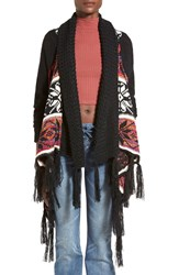 Woven Heart Fringe Blanket Cardigan Black