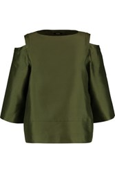 Raoul Oriole Cold Shoulder Silk And Wool Blend Shantung Top Army Green