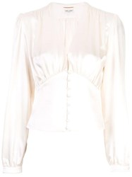 Saint Laurent Deep V Neck Blouse White