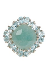 Olivia Leone Sterling Silver Aquamarine And Blue Topaz Ring