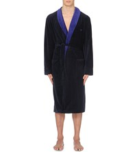 Emporio Armani Brand Embroidered Velour Robe Marine