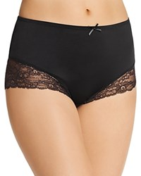 Fine Lines Full Figure Micro Stretch Galloon Lace Brief Mb073 Black