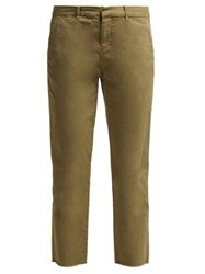 Nili Lotan Montauk Cotton Blend Twill Trousers Khaki