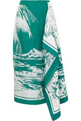 Tibi Leilani Draped Printed Silk Twill Midi Skirt Emerald