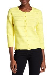 Cable And Gauge Ribbed Pointelle Knit Cardigan Yellow