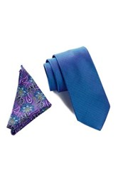 Wurkin Stiffs Solid Tie And Pocket Square Set Blue