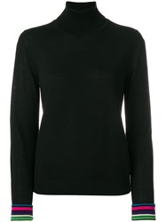 Paul Smith Ps By Striped Cuffs Roll Neck Sweater Black