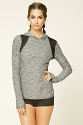 Forever 21 Active Marled Hooded Pullover Charcoal Black