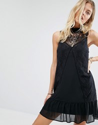 Abercrombie And Fitch Sheer Lace High Neck Dress Black