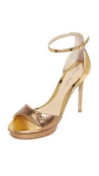 Monique Lhuillier Kiara Ankle Strap Sandals Gold