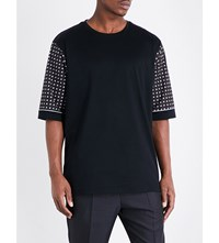 Wooyoungmi Contrast Sleeve Cotton T Shirt Black