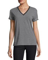 Alexander Wang Striped Short Sleeve V Neck Tee Navy