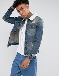 Cayler And Sons Denim Jacket In Blue With Borg Collar Blue
