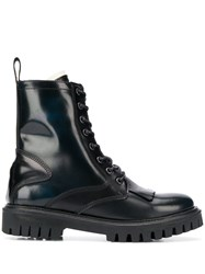 Tommy Hilfiger Lace Up Combat Boots Blue