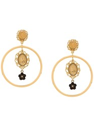Dolce And Gabbana Madonna Medallion Earrings Gold