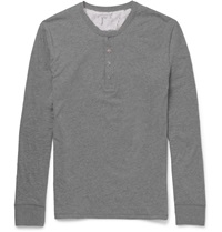 Paul Smith Cotton Jersey Henley T Shirt Gray
