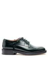 Lanvin Stirrup Effect Leather Derby Shoes Green