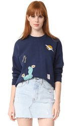 Maison Kitsune Embroidered Sweatshirt Dark Blue