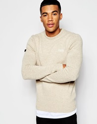 Superdry Lambswool Crew Neck Jumper Oatmeal