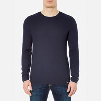 Hugo Men's Salexo Crew Neck Knitted Jumper Navy Blue