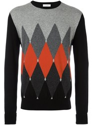 Ballantyne Contrast Diamond Print Jumper Black