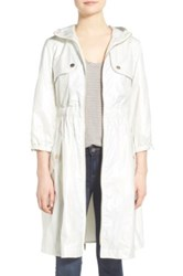 Eliza J Hooded Elasticized Waist Long Coat White