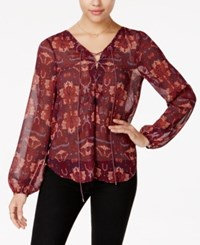Jessica Simpson Morgan Sheer Lace Up Blouse Re Stitche