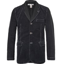 Comme Des Garcons De Garcon Hirt Blue Contrat Titched Cotton Corduroy And Twill Blazer Navy